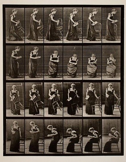 Edward Muybridge, Placing chair sitting and reading